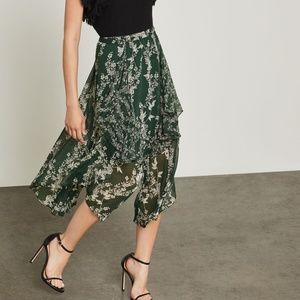 BCBGMaxAzria Floral Blooms Asymmetrical Skirt.New!